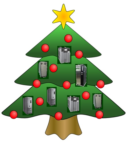 Illustration of a Christmas tree with Boilers as Ornaments