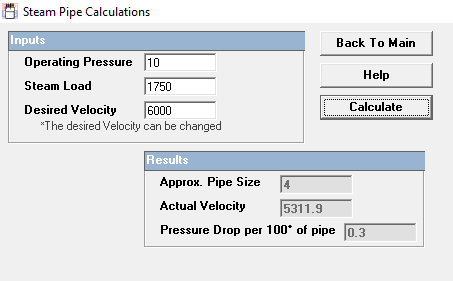 "Hoffman Selection Program - 4"" steam pipe size / Velocity of 5311 FPM / Pressure Drop - 0.3 PSIG per 100 feet"