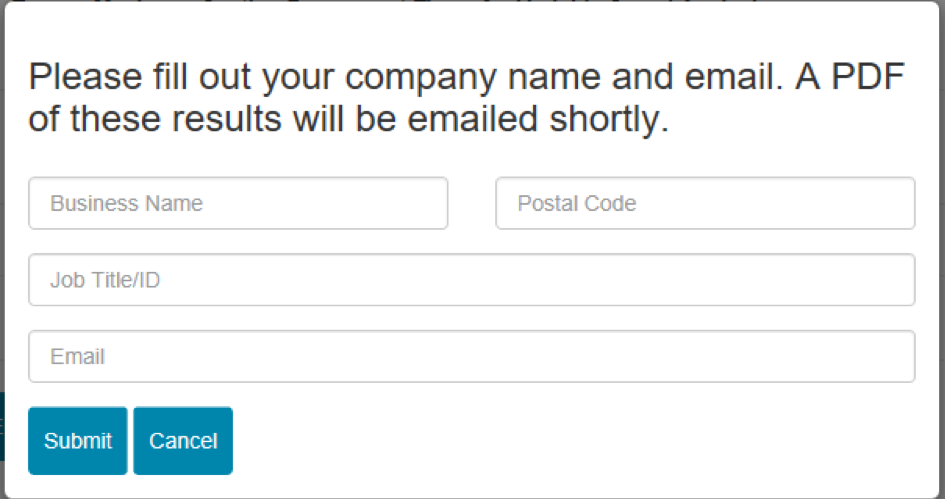 screenshot of a form for requesting an email be sent to you with calculator results