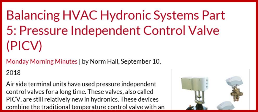 balancing HVAC hydronic Systems